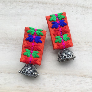 Orange Embroidered Fabric Earrings