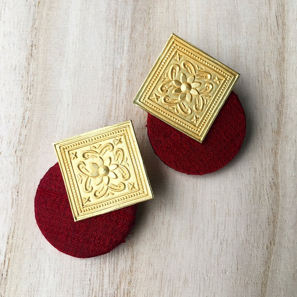 Matt Gold Tile Earrings with Pure Raw Silk Fabric