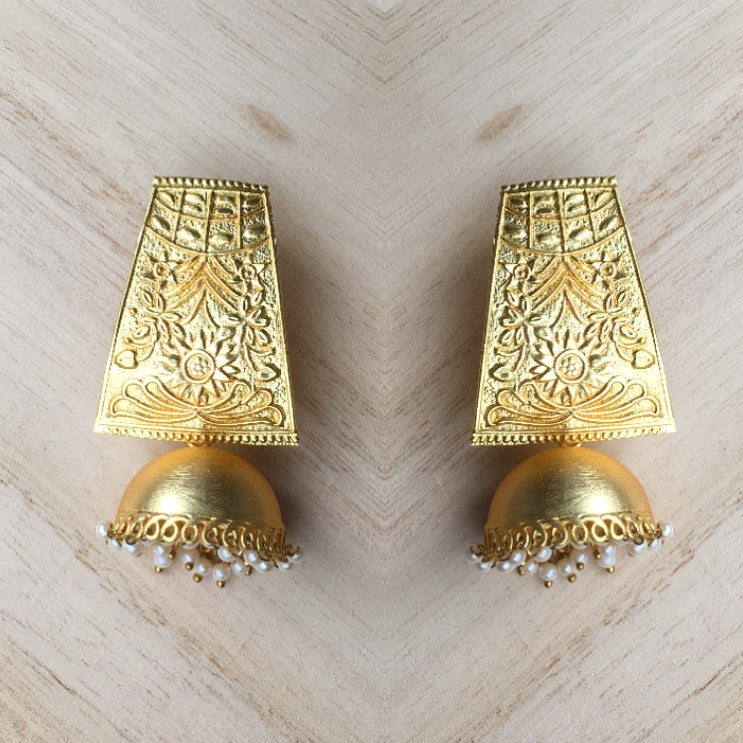 Hand Carved Matt Gold Bohemian Earrings with Dool