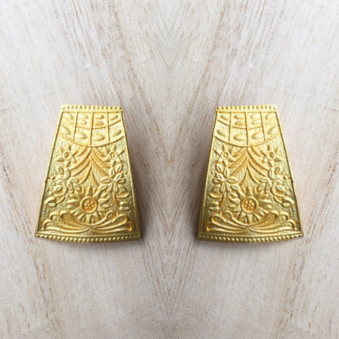Hand Carved Matt Gold Bohemian Studs