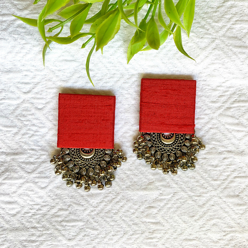 Pure Raw Silk Fusion Earrings - Blood Red