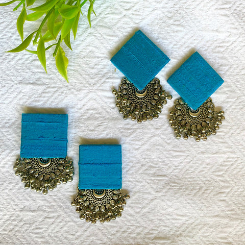 Pure Raw Silk Fusion Earrings - Peacock Blue