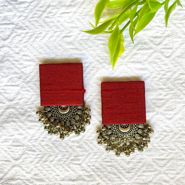 Pure Raw Silk Fusion Earrings - Maroon