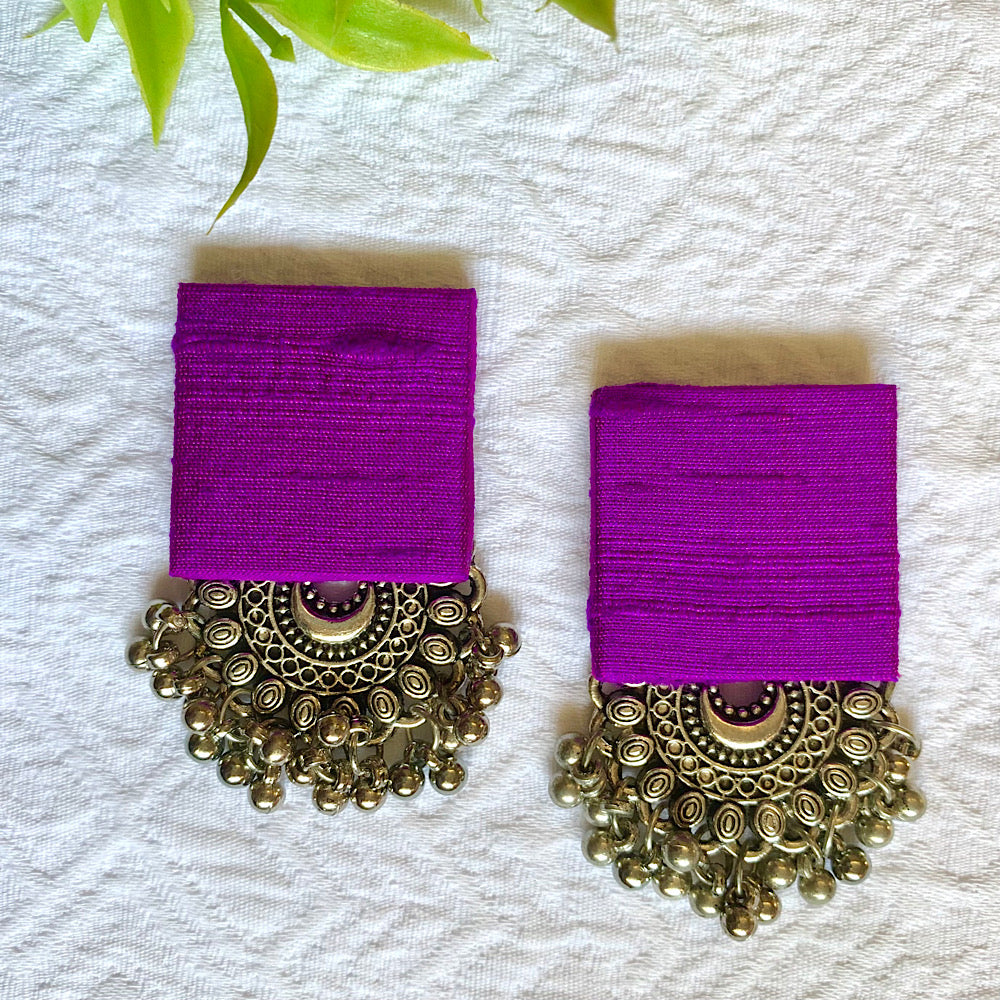 Pure Raw Silk Fusion Earrings - Purple