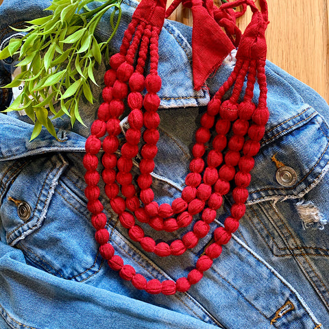 Handcrafted Blood Red Bobble Necklace (4 layers)