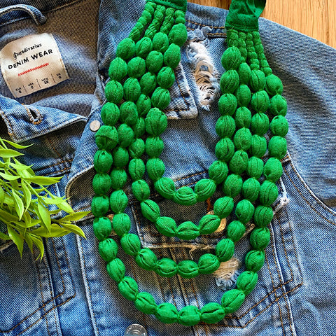 Handcrafted Bright Green Bobble Necklace (4 layers)