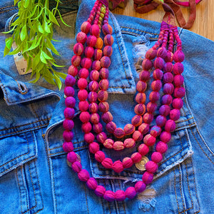 Handcrafted Vibrant Multicolour Bobble Necklace (4 layers)