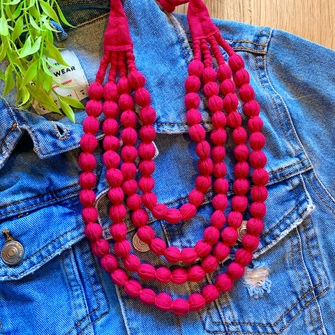 Handcrafted Shocking Pink Bobble Necklace (4 layers)