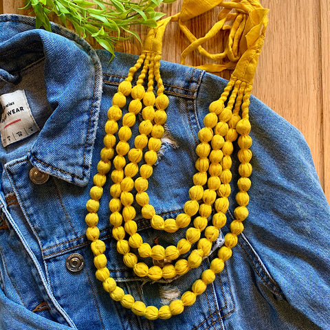 Handcrafted Bright Yellow Bobble Necklace (4 layers)