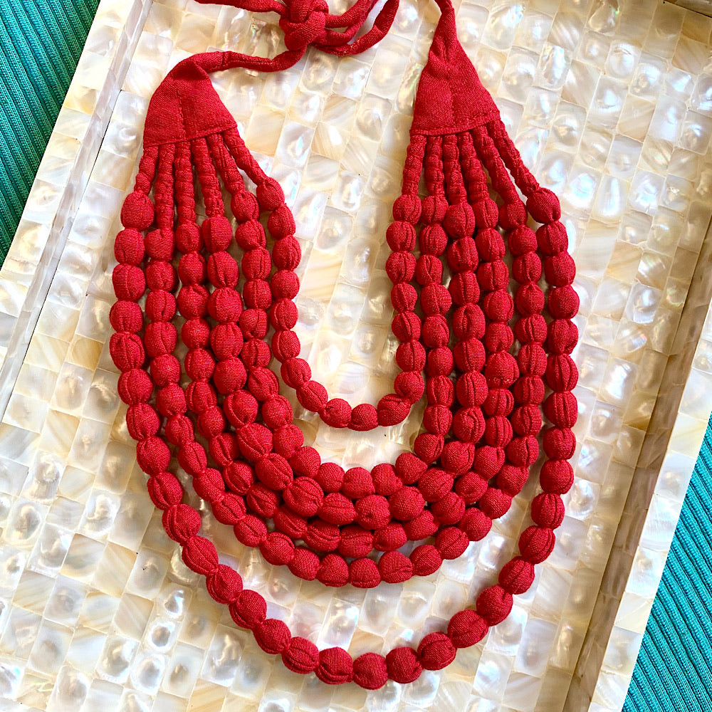 Handcrafted Blood Red Bobble Necklace (6 layers)