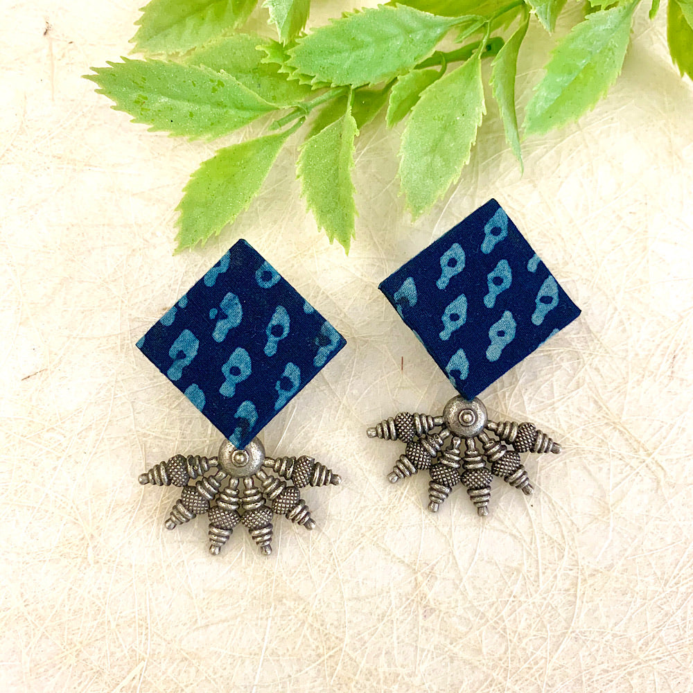 Hand Block Printed Fabric Earrings