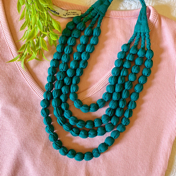 Handcrafted Jade Green Bobble Necklace (4 layers)