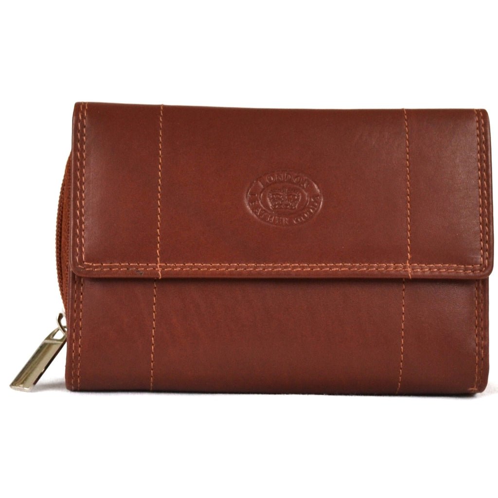 Soft Nappa Leather Zip-Around Purse - Mid Brown