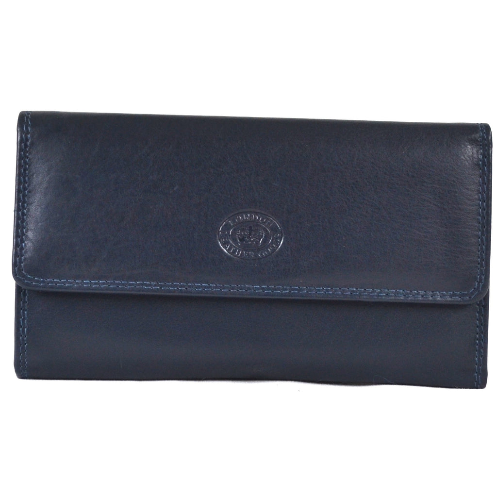 Large Soft Nappa Leather Matinee Purse - Navy