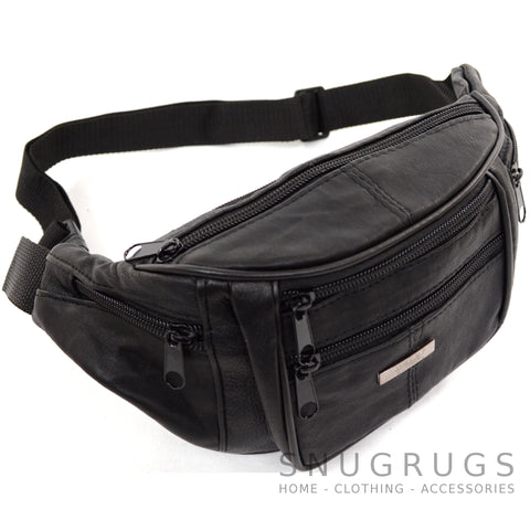 Soft Nappa Leather Bum Bag / Waist Bag - Black
