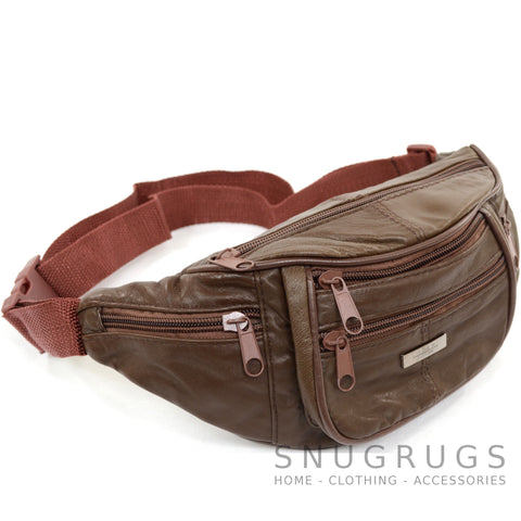 Soft Nappa Leather Bum Bag / Waist Bag - Dark Brown
