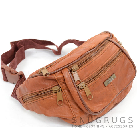 Soft Nappa Leather Bum Bag / Waist Bag - Tan