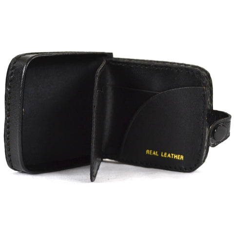 Leather Money Tray with Note Slots - Black