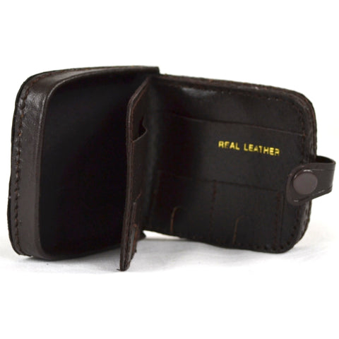 Leather Money Tray with Coin Slots - Dark Brown