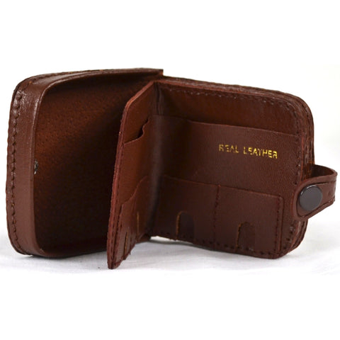 Leather Money Tray with Coin Slots - Mid Brown