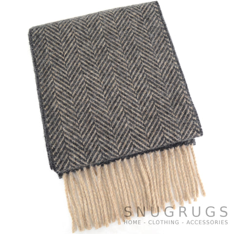 Merino Cashmere Scarf - Black & Brown