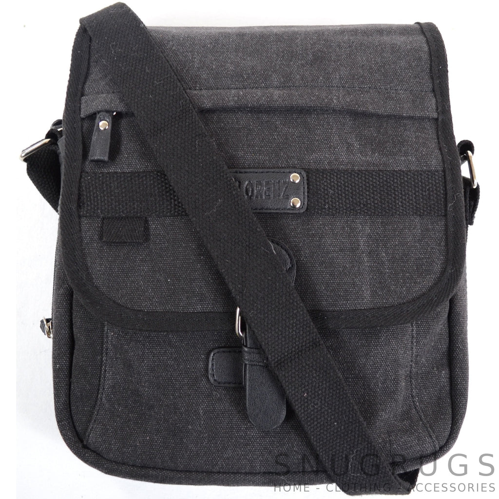 Canvas Cross Body Travel Bag - Black