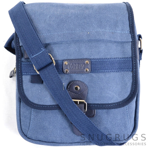 Canvas Cross Body Travel Bag - Blue