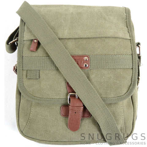 Canvas Cross Body Travel Bag - Green