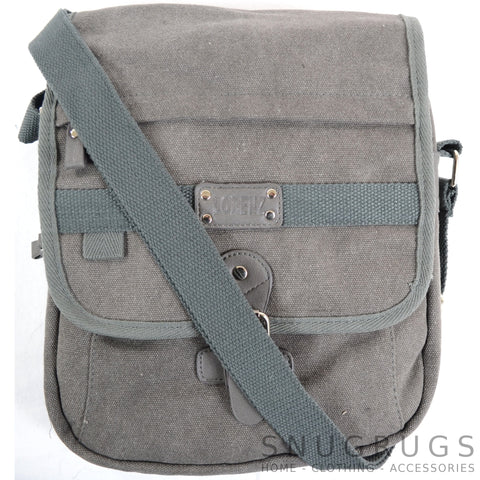 Canvas Cross Body Travel Bag - Grey