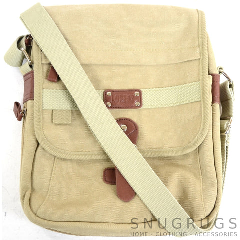 Canvas Cross Body Travel Bag - Khaki
