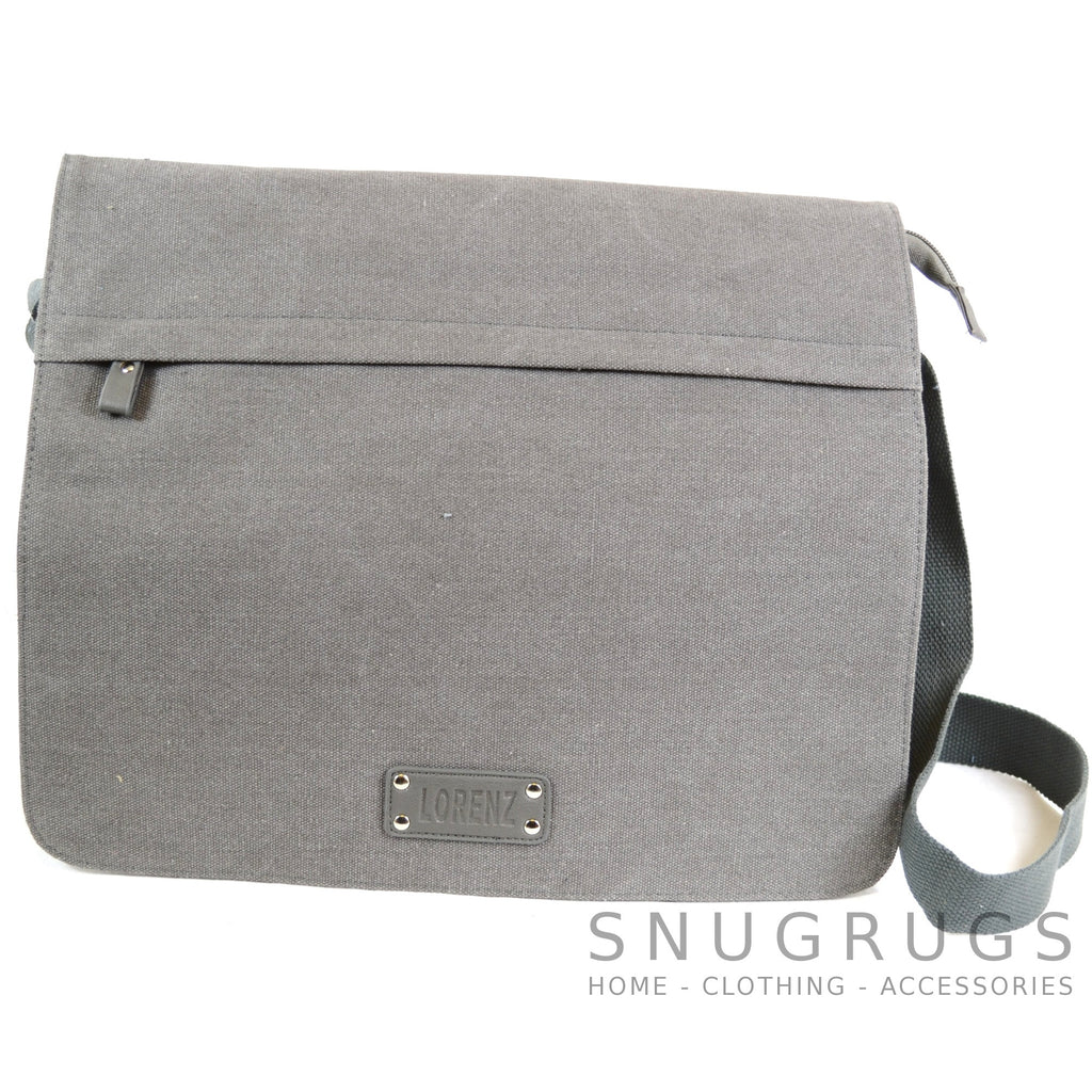 Large Canvas Messenger Bag - Grey