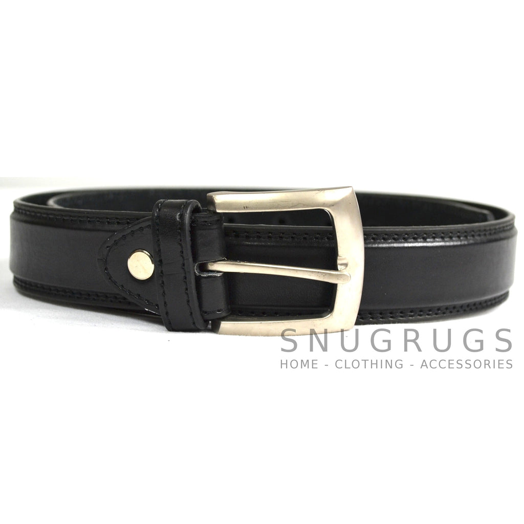 "Leather Lined 1.25"" Milano Smooth Finish Belt - Black"