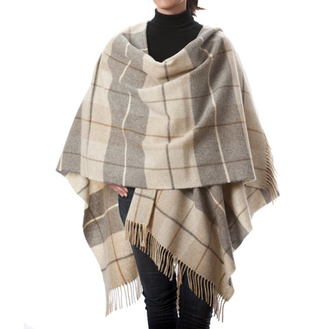 100% Premium Lambswool Cape - Beige & Greys