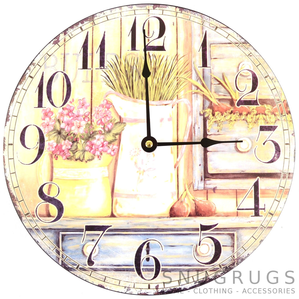Shabby Chic Vintage Style Wall Clock - Jugs and Flowers