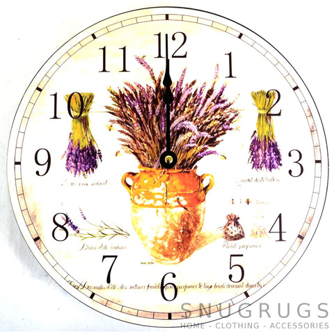 Shabby Chic Retro Vintage Style Wall Clock - Purple Flowers