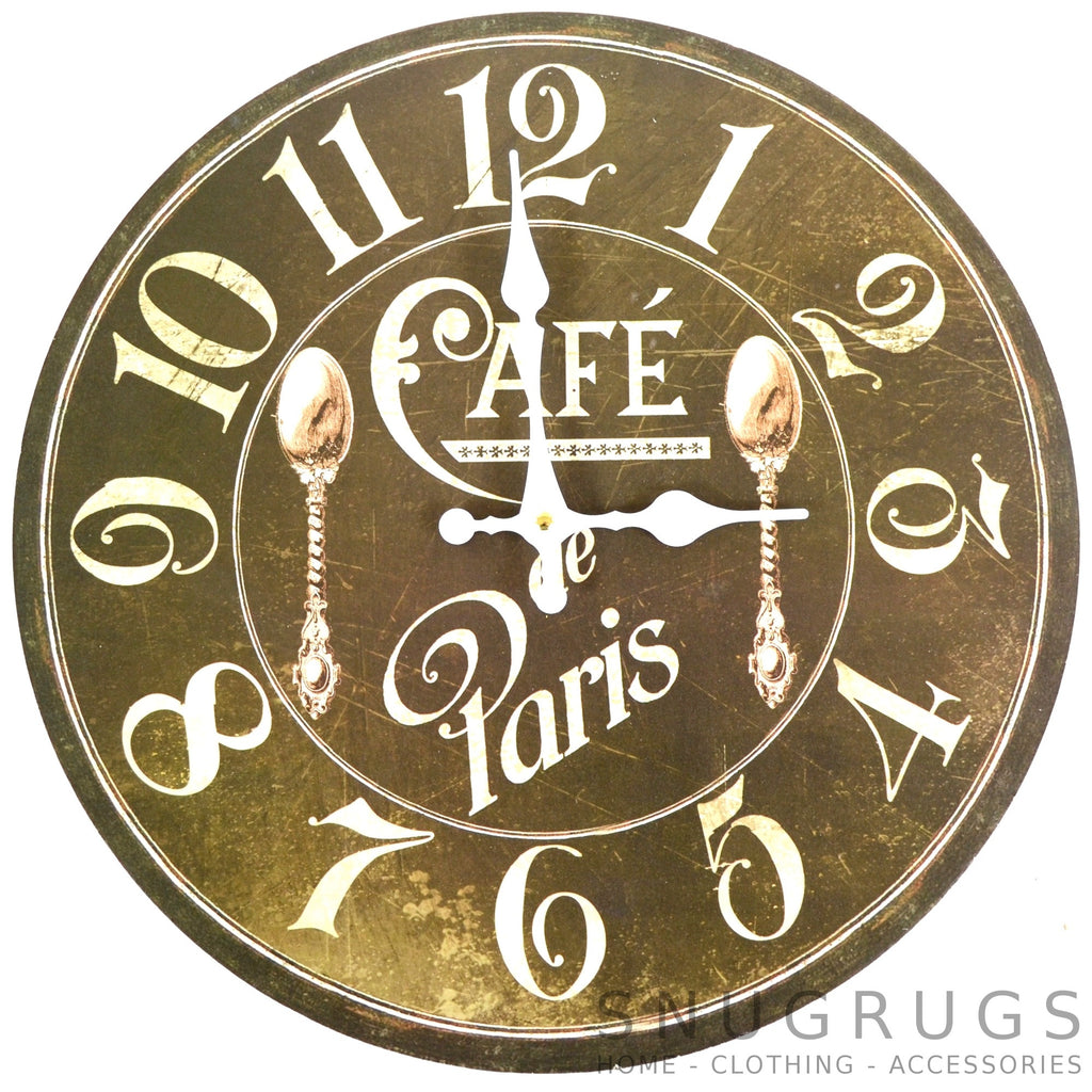 Shabby Chic Vintage French Style Wall Clock - Cafe de Paris