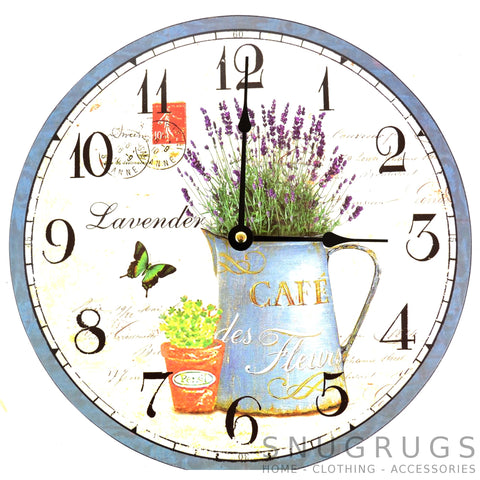 Shabby Chic Retro Vintage French Style Wall Clock - Lavender Cafe des Fleurs