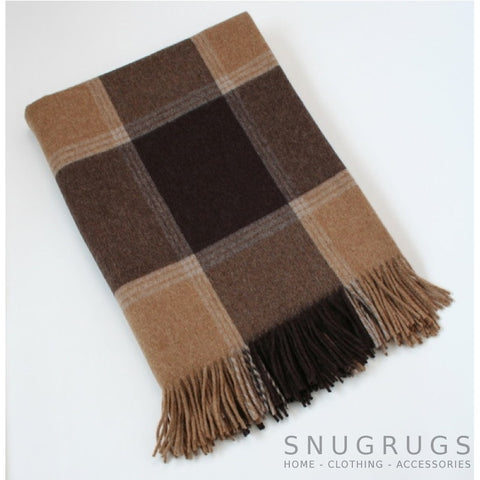Merino Lambswool Blanket - Brown & Beige