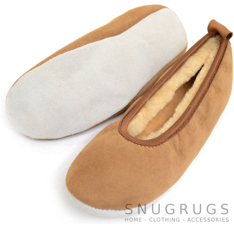 Sheepskin Ballerina Style Pumps / Slippers - Chestnut