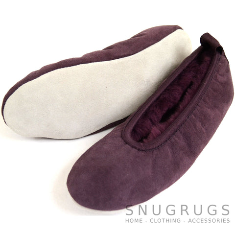 Sheepskin Ballerina Style Pumps / Slippers - Plum