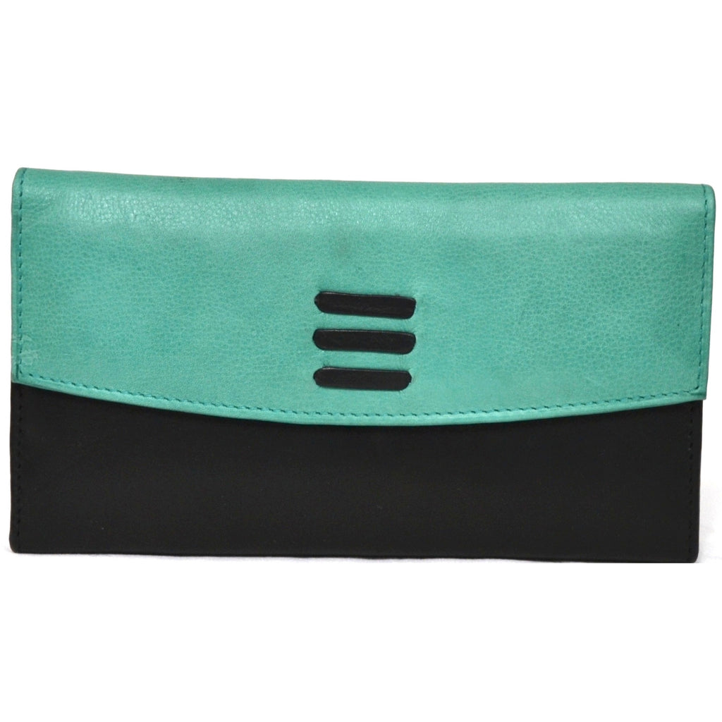 Soft Leather Purse Wallet - Green & Black