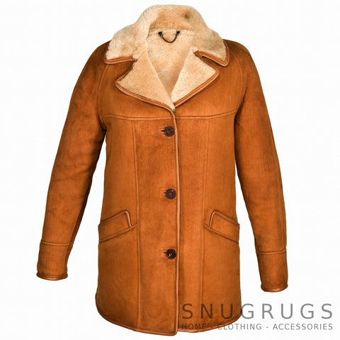 April - Full Sheepskin Coat with Raglan Sleeves - Tan