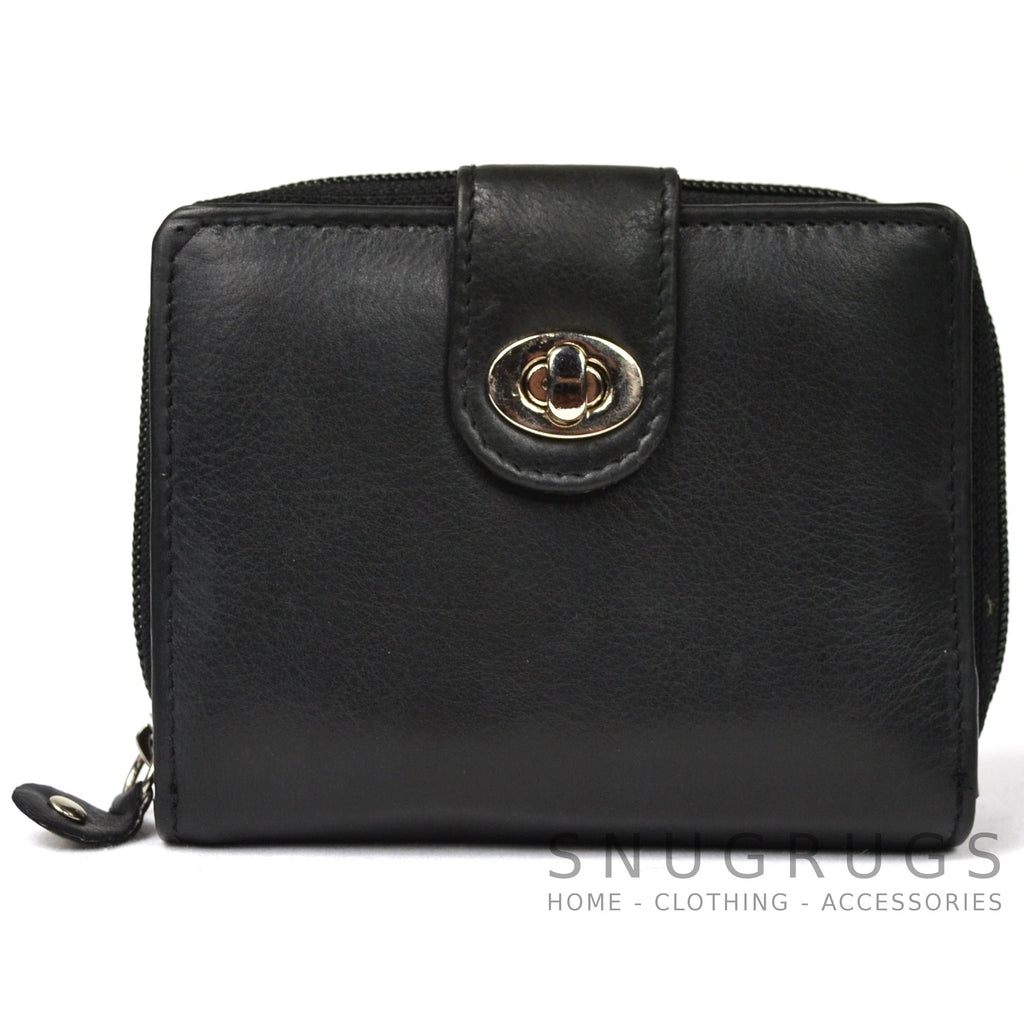 Ava - Prime Hide Leather & Coin Purse - Black