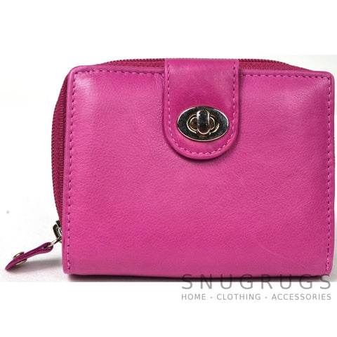 Ava - Prime Hide Leather & Coin Purse - Pink