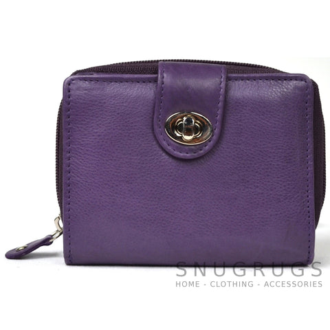 Ava - Prime Hide Leather & Coin Purse - Purple
