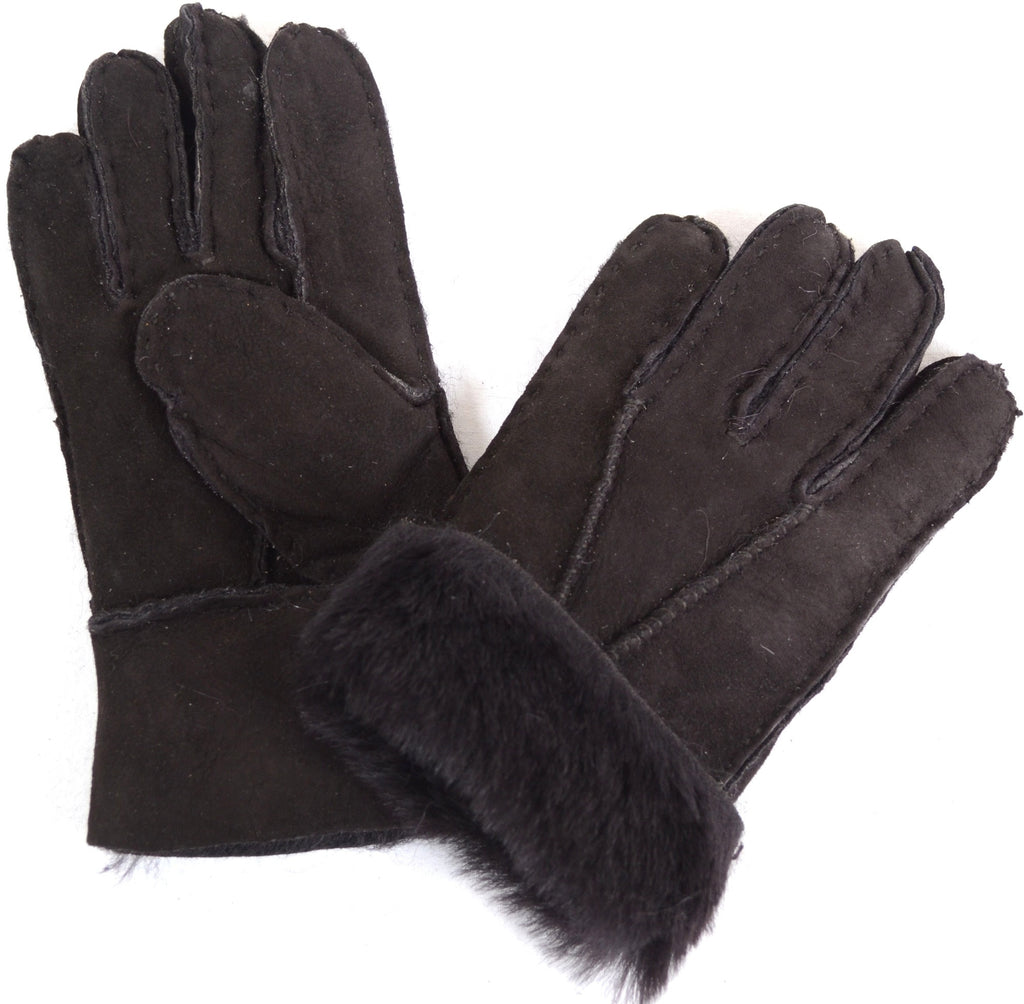 Childrens black leather gloves - Childrens Sheepskin Gloves Black