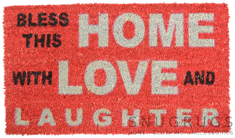 "Front Entrance / Outdoor Coir Doormat - ""Bless This Home"""