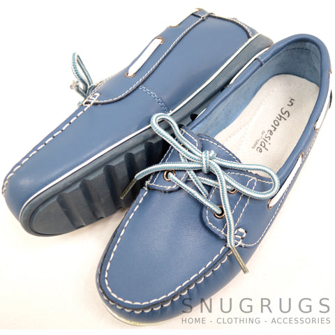 Soft Leather Boat Shoes - Denim