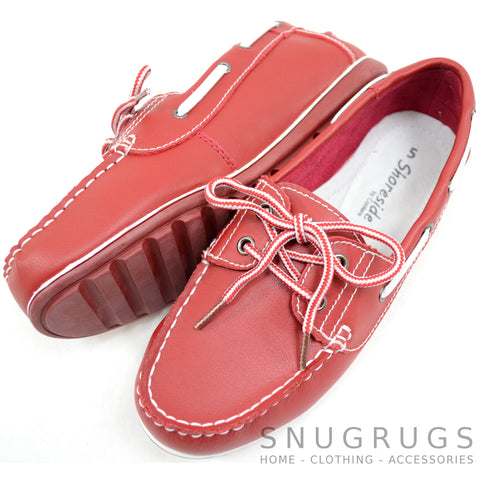 Soft Leather Boat Shoes - Red