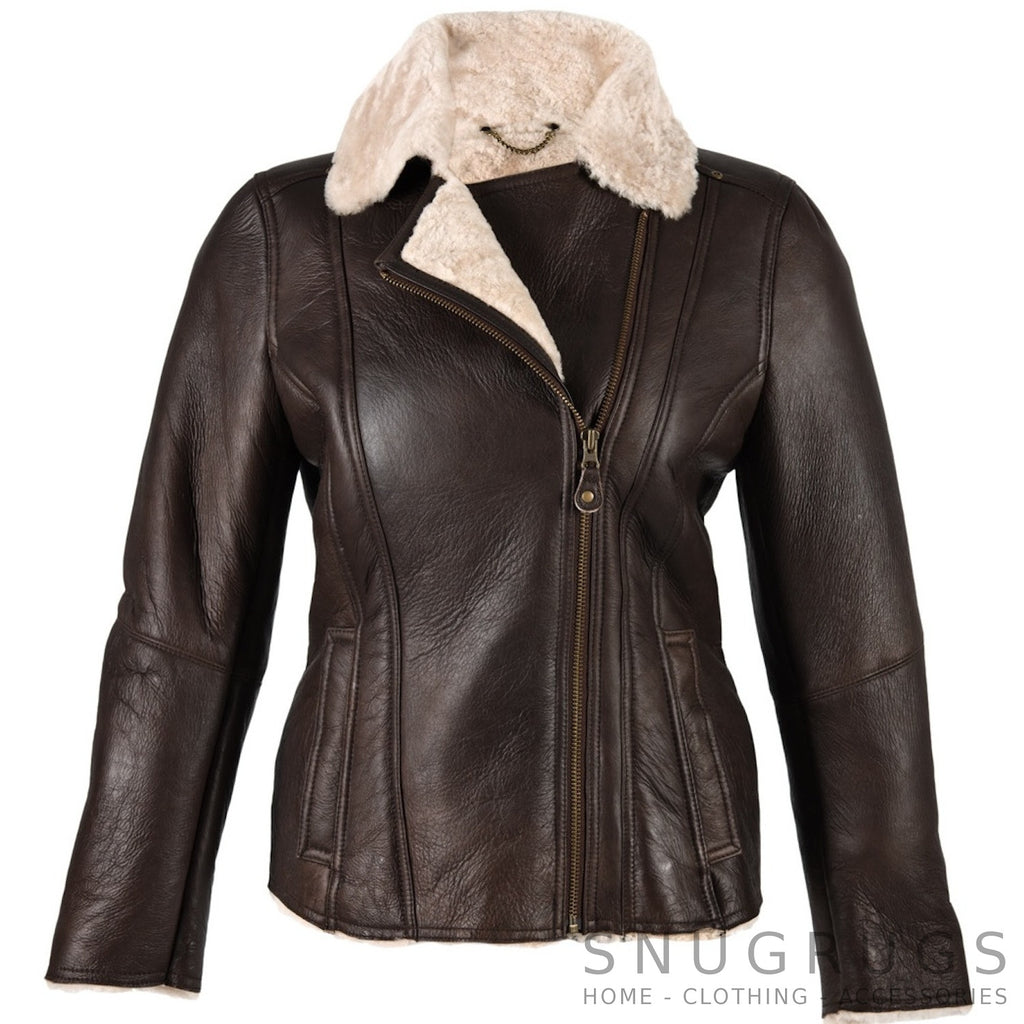 Celene - Sheepskin Aviator Finish Jacket with Diagonal Zip